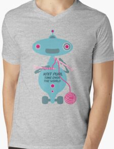 Knit Purl Take Over the World robot knitting needles Mens V-Neck T-Shirt