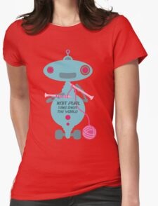 Knit Purl Take Over the World robot knitting needles Womens Fitted T-Shirt