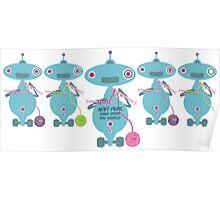 Knit Purl Take Over the World robot knitting needles Poster