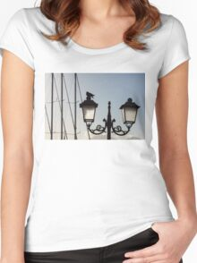 Dove Perch - Quaint Cast Iron Harbor Lights and Boat Masts - Left Women's Fitted Scoop T-Shirt