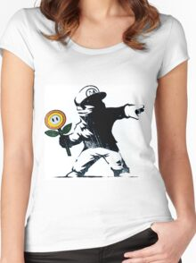 The Mario Flower Chucker Women's Fitted Scoop T-Shirt