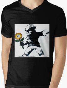 The Mario Flower Chucker Mens V-Neck T-Shirt