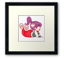Purple Haired Mermaid Marker Drawing Framed Print