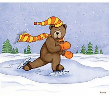 Ice Skating Brown Bear Photographic Print