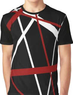 Red and White Stripes on A Black Background Graphic T-Shirt
