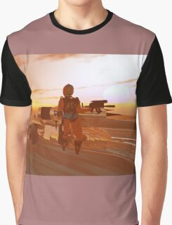 ARES CYBORG IN THE DESERT OF HYPERION,Sci Fi Movie Graphic T-Shirt
