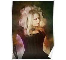 Computer generated Old portrait painting of a woman wearing Gothic style clothes Poster
