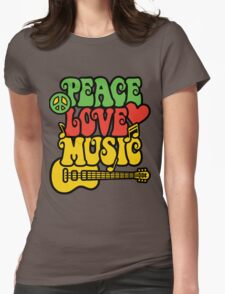Reggae Peace-Love-Music Womens Fitted T-Shirt