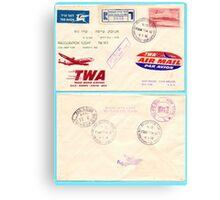 Inauguration flight TWA (Trans World Airlines) Lod to New York 1956 Canvas Print