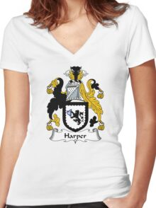 Harper Coat of Arms / Harper Family Crest Women's Fitted V-Neck T-Shirt