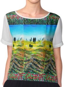 TUSCANY LANDSCAPE WITH POPPIES Chiffon Top