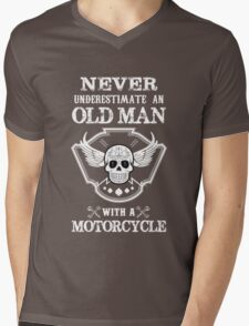 Never underestimate an old man with a motorcycle Mens V-Neck T-Shirt