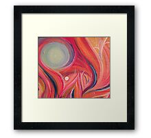 Abstract Pink Swirl with Blue Sphere Acrylic Painting Framed Print
