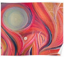 Abstract Pink Swirl with Blue Sphere Acrylic Painting Poster