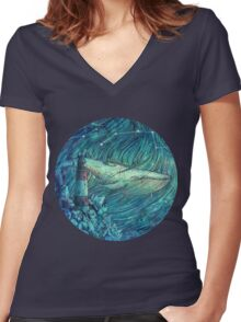Moonlit Sea Women's Fitted V-Neck T-Shirt