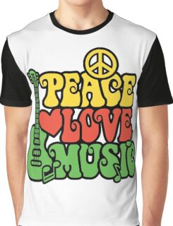Reggae Peace Love Music Graphic T-Shirt