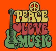 Reggae Peace Love Music Kids Tee
