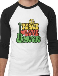 Reggae Peace Love Music Men's Baseball ¾ T-Shirt