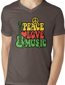 Reggae Peace Love Music Mens V-Neck T-Shirt