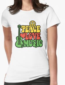 Reggae Peace Love Music Womens Fitted T-Shirt