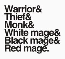 Final Fantasy Job Classes (black text) One Piece - Short Sleeve