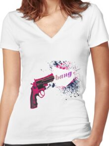 Gun Bang Women's Fitted V-Neck T-Shirt