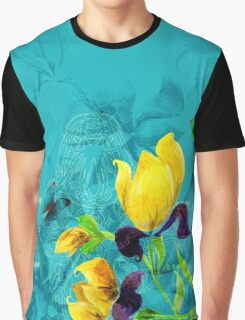 Yellow flowers on turquoise background Graphic T-Shirt