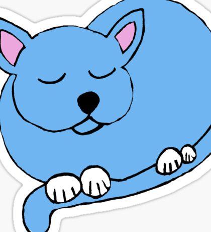blue cat sleeping Sticker