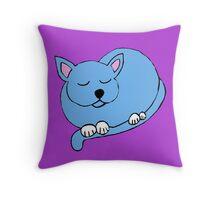 blue cat sleeping Throw Pillow