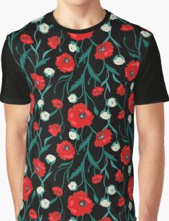Seamless Dark Flower Poppies and Roses Pattern Graphic T-Shirt