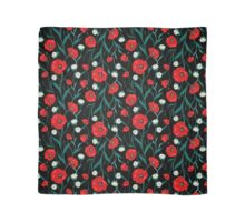Seamless Dark Flower Poppies and Roses Pattern Scarf