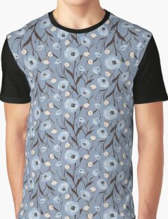 Seamless Flower Poppies and Roses Pattern Graphic T-Shirt