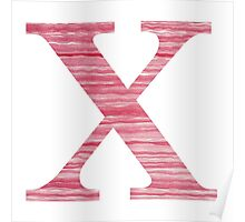 Letter X Red Watercolor Stripes Initial Monogram Poster