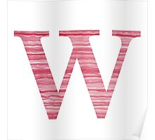 Letter W Red Watercolor Stripes Initial Monogram Poster