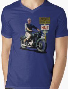 STEVE MCQUEEN GREAT ESCAPE HALT Mens V-Neck T-Shirt
