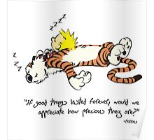 Calvin and Hobbes Sleeping Quote Poster