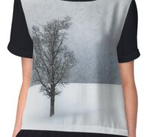 LONELY TREE Idyllic Winterlandscape Chiffon Top