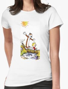 Calvin and Hobbes River Womens Fitted T-Shirt