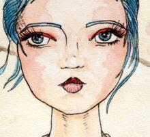 Illustrated White Tea Girl Sticker