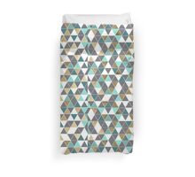 Modern Gray White Teal and Faux Gold Triangles Duvet Cover