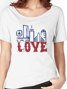 Love Boston Red Sox - Boston Skyline Women's Relaxed Fit T-Shirt