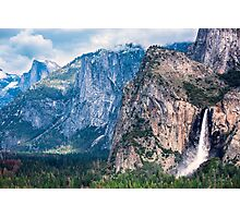 Bridlevail Falls and Half Dome in Yosemite Valley Photographic Print