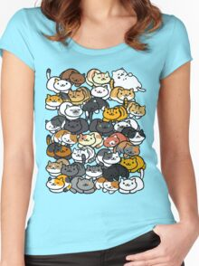 Neko Atsume Sleepy Kitties Women's Fitted Scoop T-Shirt