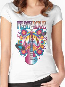 Peace, Love and Music Women's Fitted Scoop T-Shirt