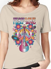 Peace, Love and Music Women's Relaxed Fit T-Shirt