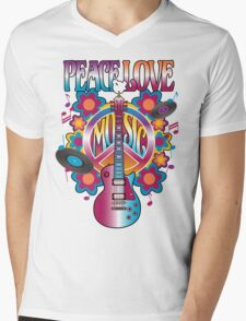 Peace, Love and Music Mens V-Neck T-Shirt