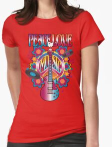 Peace, Love and Music Womens Fitted T-Shirt