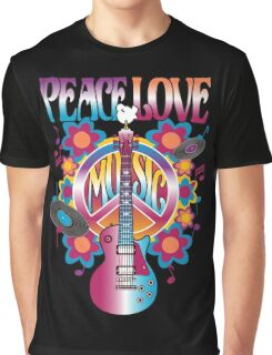 Peace, Love and Music Graphic T-Shirt