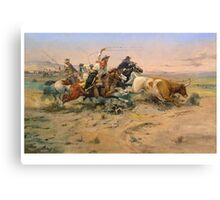 American, Cowboy, The Herd Quitter, Painting by C.M. Russell Canvas Print