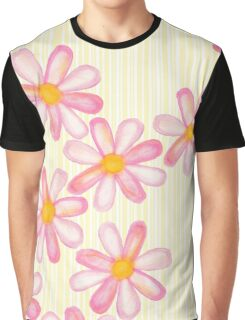 Girly Pink Watercolor Flowers Yellow White Stripes Graphic T-Shirt